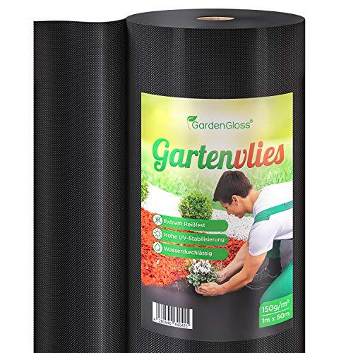 GardenGloss® 50m² Premium Unkrautvlies 150g/m² Extra Stark – Hohe UV-Stabilisierung – Gartenvlies gegen Unkraut – Unkrautfolie Wasserdurchlässig – Reißfestes Unkrautflies (50m x 1m, 1 Rolle)