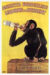 Buyartforless Vintage Liquor Dessert Drunk Monkey 36x24 Poster Art Print Vintage Advertising