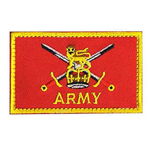 Ohrong Parche táctico bordado del ejército británico del Reino Unido con espada corona brazalete insignia de la moral emblema de la bandera roja