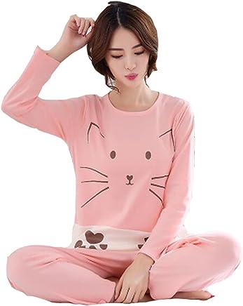 3401ed0c4b Big Girls Teen Girls Cute Cat Long Sleeves Cotton Pajamas Set
