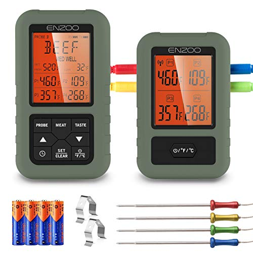ENZOO Wireless Meat Thermometer for Grilling, Accurate & Fast Digital Meat Thermometer with 4 probes, 500FT Remote Smoker Thermometer with Alert & Timer, Meat Thermometer for Smoker, Grill, BBQ, Oven