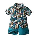 Juego de 3 piezas de verano para niño, camisa de manga corta, impresión hawaiana floral + camiseta de color liso + pantalones cortos de playa, vacaciones Verde 12-18 Meses