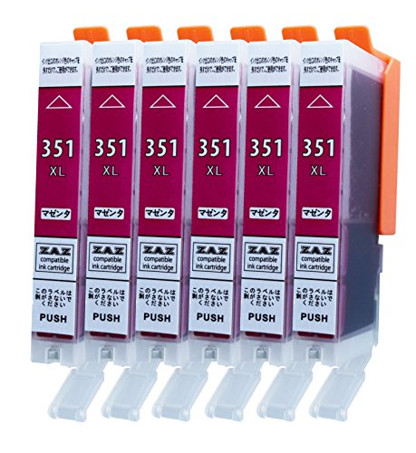 ZAZ BCI-351XLM マゼンタ 6本セット Canon 互換インク ( BCI-351XL+350XL/6MP or BCI-351XL+350XL/5MP 対応の 351XL マゼンタ6本) ( BCI-351M の大容量タイプ) ICチップ付き 残量表示可能 [ZAZブランドオリジナル][ FFPパッケージ(351M)]