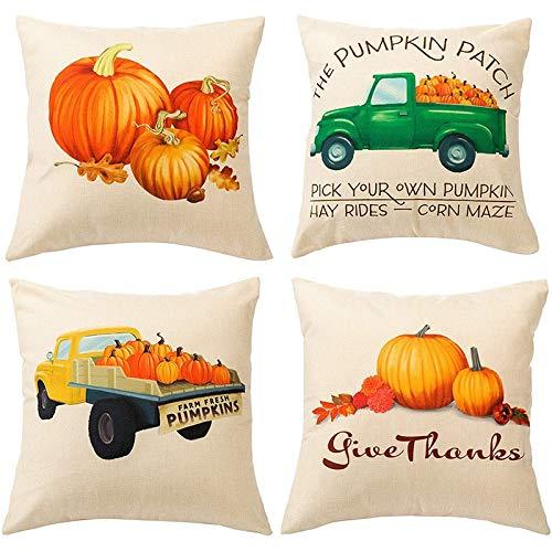 Kirmax Fall Throw Pillow Covers Autumn Pillowcases, Thanksgiving Cotton Linen Fall Pillows Couch Farmhouse Fall Decoration