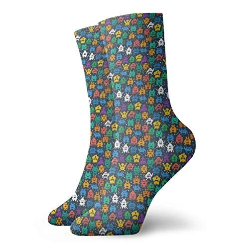 Calcetines Transpirables Retro Space Invaders Video Game Crew Sock Exótico Moderno Mujeres y Hombres Impreso Deporte Atlético Calcetines 30 cm Calcetines