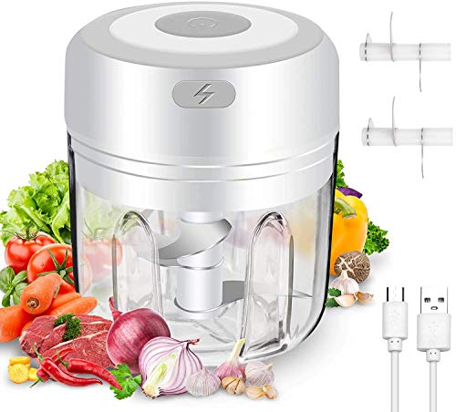 Electric Food Chopper, Powerful Mini Garlic Onion Chopper, Portable Baby Food Processor Cordless Mini Chopper for Baby Food, Chili, Onions, Garlic, Fruits, Salad - with 2 PCS Blades (250ml/ 8.4oz)