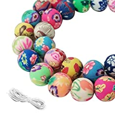 "Material: soft ceramic. Quantity: 100. Bead size: 10mm/0.39"", hole size: 1.5mm/0.06"". Soft ceramic beads are purely handmade, very fine looking. Comes with 1 pair of scissors and 1 white cord as gifts. You can use the beads to make jewelry such as ne..."