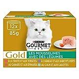 GOURMET Gold - Les Mousselines avec des Légumes : Agneau-Haricots verts, Canard-Epinards, Truite-Tomates, Colin-Carottes - 12x85g - Lot de 8