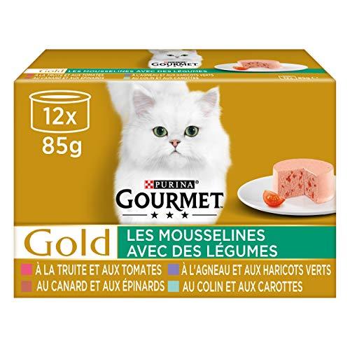 Purina Gourmet Ptée pour Chat Légumes, Viande et Poissons, 12 x 85g (Lot de 8)