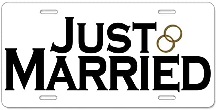 CafePress Just Married Aluminum License Plate, Front License Plate, Vanity Tag