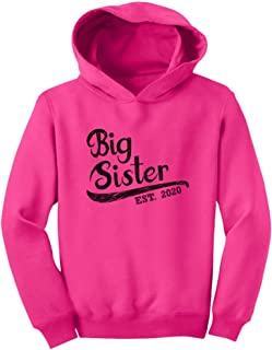 Girls Big Sister Est 2020 Sibling Gifts Toddler Hoodie