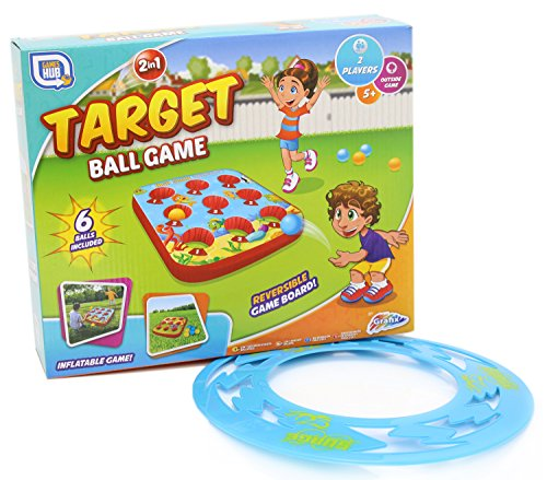 2 in 1 Target Ball Game - Double Sided Inflatable Outdoor Garden Games Set with FREE Surge Flying Disc Frisbee