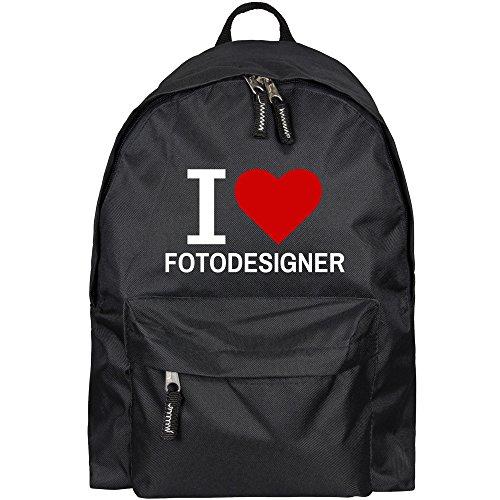 Multifanshop® Rucksack Classic I Love Fotodesigner schwarz - Backpack Tasche