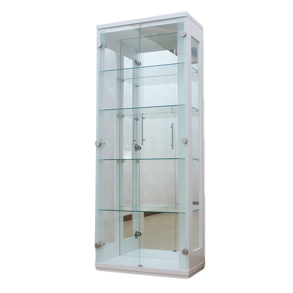 ビル羊窓を洗うミラー付大型ガラスコレクションキャビネット ホワイト