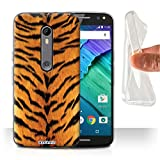 Phone Case for Motorola Moto X Pure Edition Animal Fur Effect/Pattern Tiger Design Transparent Clear Ultra Soft Flexi Silicone Gel/TPU Bumper Cover