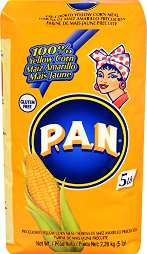 P.A.N. Yellow Corn Meal – Pre-cooked Gluten Free and Kosher Flour for Arepas, 5 lb (Pack of 4)