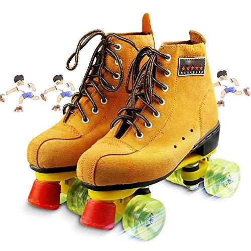 Roller Skates Quad Pelle Scamosciata Scarpe Pattinaggio Boot Puleggia Per Interni/Esterni Unisex Bambini,44
