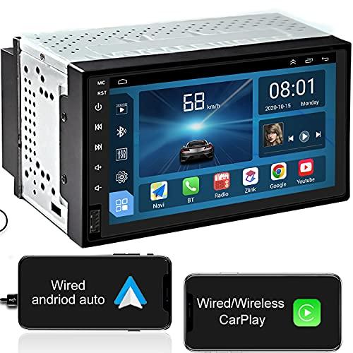 IYING Android 10 2 DIN Autoradio Inalámbrico CarPlay Android Auto para 7 Pulgadas Pantalla IPS Am FM RDS Radio WiFi Bluetooth Audio Estéreo para automóvil con navegación GPS 1GB RAM + 16GB ROM