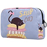 Bolsa de brochas de maquillaje personalizables, bolsas de aseo portátiles para mujer, organizador de viaje para gatos