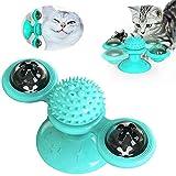 sweenaly Molino de viento para gato con bola LED y bola de catnip 2020 (azul)