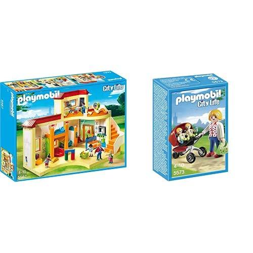 PLAYMOBIL City Life Guardería, A Partir de 4 años (5567) + Guardería Mamá con Carrito de Gemelos, playset (5573)