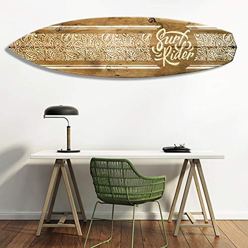 Vertikale Décoration Murale Planche de Surf Effet Bois Motif Polynésien Blanc Surf Rider 150 x 40 cm - Format Vertical