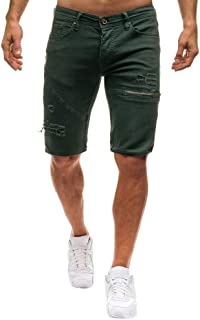 HaiDean Peng Men Skinny Denim Casual Modern Hole Torn Jeans Shorts Summer Casual Sports Straight Shorts Slim Fit Bermuda S...
