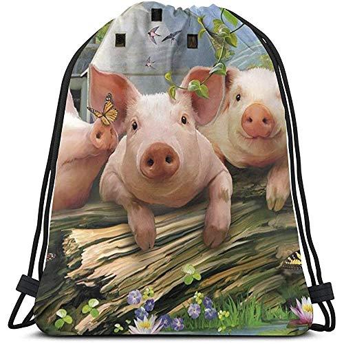 Gym Drawstring tassen, drie kleine varken schilderij Tote rugzak zak zak gym zak tas tas voor reizen Beach Books opbergtas
