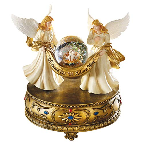 Collections Etc Musical Angels Christmas Holiday Snow Globe, Gold Tabletop Accent - Plays O Holy Night