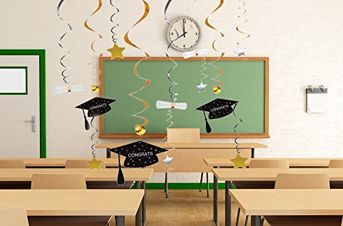 Graduation Party Supplies 2019 Decorations Hanging Swirl- Grad Star/Mortarboards/Diplomas Ceiling Foil Ornaments (36 PCS)