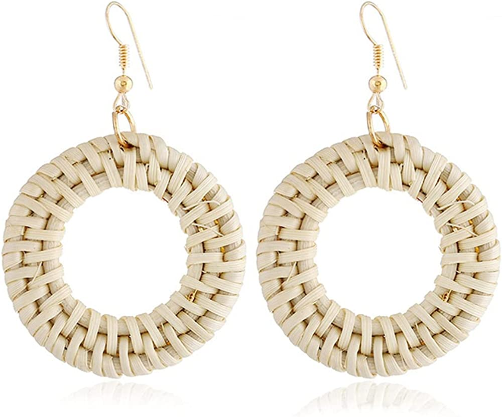 Earring Bamboo and Rattan Hand-woven Earrings Suitable for Party, Wedding, Travel, Holiday,The Best Birthday Gifts Holiday Gifts