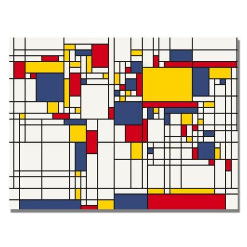 Mondrian World Map by Michael Tompsett, 30x47-Inch Canvas Wall Art