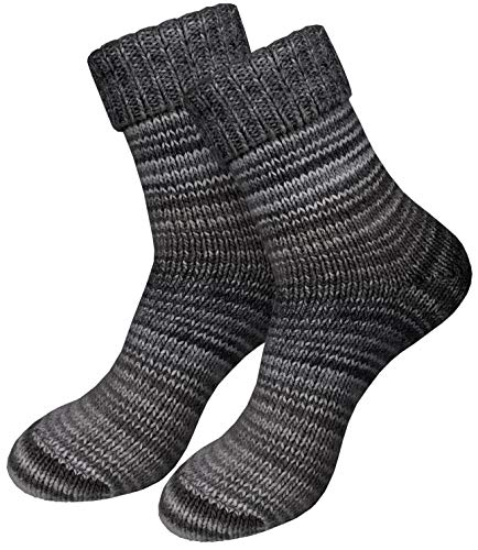 dunaro 2 Paar gestrickte Norweger-Socken Wollsocken Wintersocken kuschelig warm Damen Herren (2 Paar/39-42 Grau)
