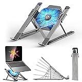 Laptop Ständer, Laptop Stand mit Abnehmbarem USB-Lüfter, Verstellbarer Aluminium-Laptophalter, Faltbarer Rutschfester Notebook Ständer Kompatibel mit MacBook Pro Air, Lenovo, Dell, 10-17' Laptops