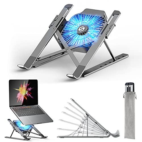 Laptop Ständer, Laptop Stand mit Abnehmbarem USB-Lüfter, Verstellbarer Aluminium-Laptophalter, Faltbarer Rutschfester Notebook Ständer Kompatibel mit MacBook Pro Air, Lenovo, Dell, 10-17