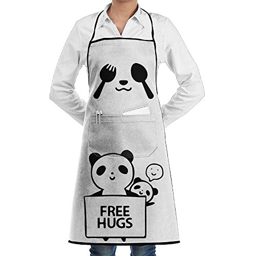 Spoon Fork Panda Smile Apron Lace Unisex Mens Womens Chef Adjustable Polyester Long Full Black Cooking Kitchen Aprons Bib With Pockets For Restaurant Baking Crafting Gardening BBQ Grill