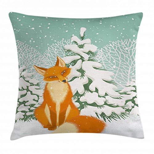 Funda de Cojine,Throw Cojín Fox Red Fox sentado en el bosque de invierno los pinos cubiertos de nieve dibujos animados de Navidad 45CM X 45CM