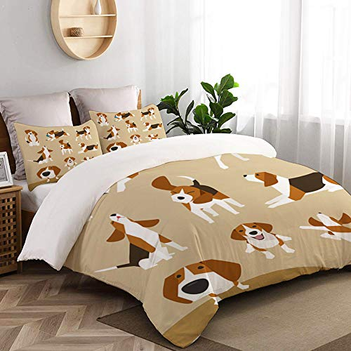WINCAN 3 Pc Bedding Set Various Operations Cute Beagle Decorative Duvet Cover Set With 2 Pillowcases Double Size (200x200cm)