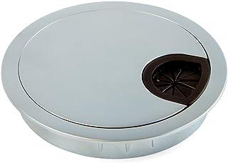 Emuca 5073164 Round Built-in Metal Grommet for Table/Desk/worktop, Ø80mm, Matt Chrome