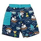 i play. by green sprouts Clothing, Shoes & Jewelry Baby Boys Swim Trunks, Navy Pirate Ship, 24mo
