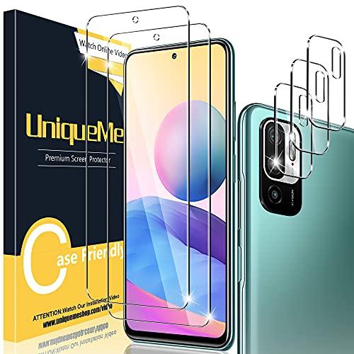 [2+3 Pack] UniqueMe Compatible con Xiaomi Redmi Note 10 5G/Poco M3 Pro 5G (No Adecuado Note 10 4G) Protector de Pantalla + Protector de Lente de cámara, Cristal Templado [9H Dureza] Alta Definición
