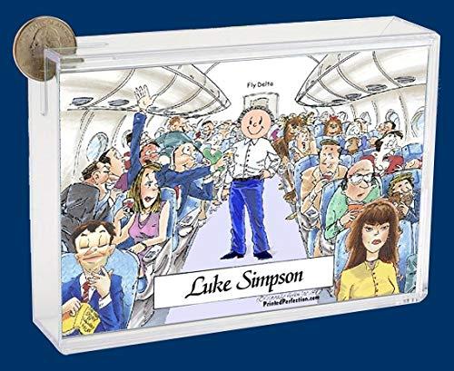 Personalized Friendly Folks Cartoon Caricature Bank: Flight Attendant, Steward, Flight Crew – Male