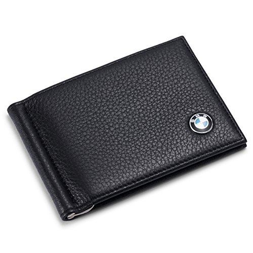 BMW Bifold Money Clip Wallet with 6 Credit Card Slots - Genuine Leather