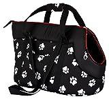 Hobbydog TORCWL3 -Borsa da trasporto per piccoli cani e gatti, Nero con zampe, 27x 25x 43cm