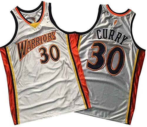 XSJY Jerseys De Hombre NBA Golden State Warriors # 30 Stephen Curry Basketball Jersey Swingman Edition Unisex Sin Mangas Camiseta,Blanco,XXL:185~190cm/95~110kg