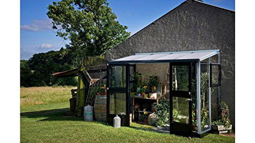 Juliana Anlehngewächshaus Veranda 4,4, BxT: 296x149 cm, schwarz-silber schwarz, silberfarben