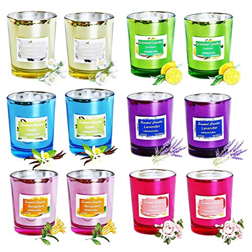Vxkbiixxcs-o Scented Candles Gift Set Portable Glass Natural Soy Wax Candles, Strongly Fragrance Essential Oils Aromatherapy Candles