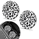 2 Pack Car Coasters, SHANSHUI Bling Cute Car Coasters for Cup Holders Silicone Anti Slip Crystal Rhinestone Diamonds Vehicle Coasters Interior Bling Car Accessories (Withe Leopard/ 2pcs)