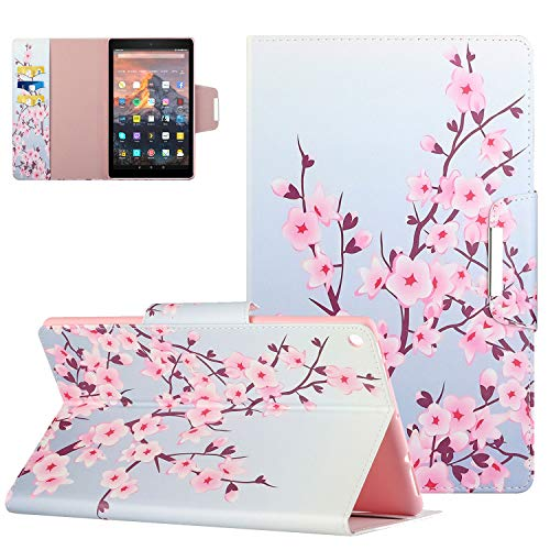 UGOcase Cover for Amazon Fire HD 10.1 Tablet(9th/7th/5th Gen, 2019/2017/2015 Release), Premium PU Leather Fold Stand Sleeve with Auto Sleep Wake Protective Wallet Cover for Fire HD 10.1' - Pink Floral