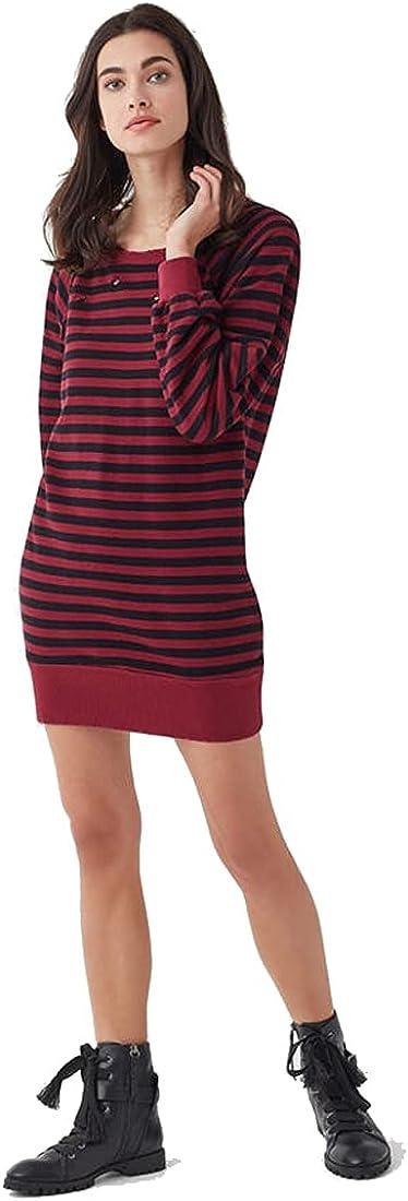 Splendid Women's West Village Stripe Terry Dress, Ruby, Large